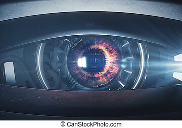 Narrow cyber eye. Close up. 3D Rendering