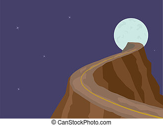 Narrow dangerous mountain road on full moon background. Abstract illustration. Scalable layered EPS vector file.