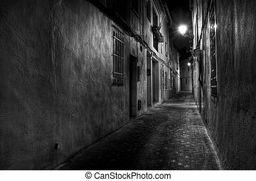 Narrow European Street - A Narrow European Street at Night...