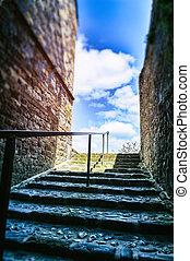 Narrow european street with staircase