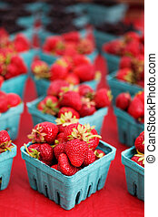 Narrow focus strawberries - Single sharp image of a red ...