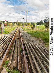 Narrow gauge railway or railroad track converging into distance