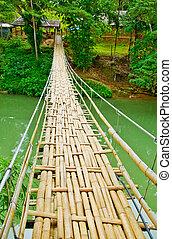 Narrow Hanging Bridge - Narrow Hanging Brigde over a river