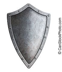 narrow medieval metal shield isolated on white
