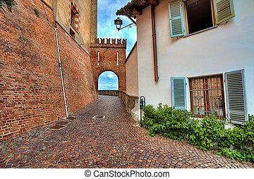 Narrow medieval street. Barolo, Italy.