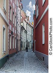 Narrow medieval street in old Riga