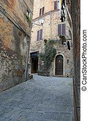 Narrow medieval street in Siena, It