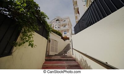 Narrow old steps on the streets in Monaco and roads with...