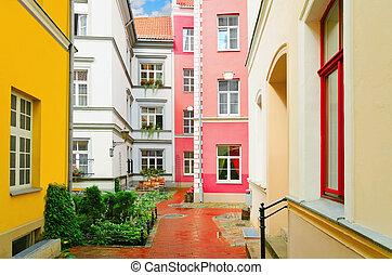 Narrow Riga Street After The Rain. Latvia.