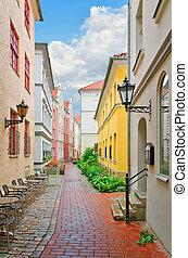 Narrow Riga street - Narrow street of the old European city