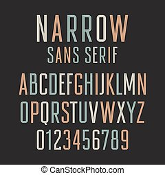 Narrow sans serif font. Handmade condensed letters and numbers
