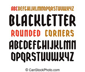 Narrow Sanserif Font In Black Letter Style With Rounded Corners