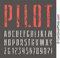 Narrow sanserif stencil-plate font with shabby texture....