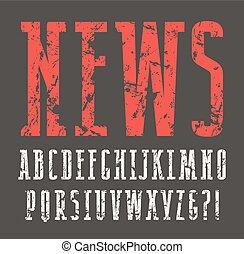 Narrow slab serif font with shabby texture. Print on black ...