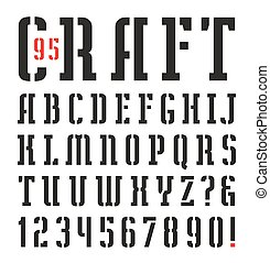 Narrow stencil-plate serif font. Bold face. Black print on...
