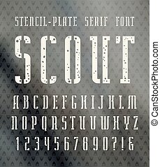 Narrow stencil-plate serif font with speckled texture. Bold...