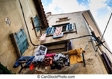 Narrow Stone Street of Old Rovinj, Croatia