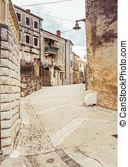 narrow stone street of Rovinj, Croatia