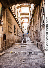 Narrow stone streets of ancient Tel Aviv, Israel