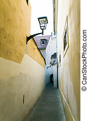 Narrow street in center of the old city Sibiu, Transylvania, Romania.
