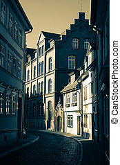 narrow street in Erfurt, Germany
