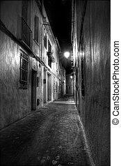 Narrow Street in Europe - A Narrow European Street at Night...