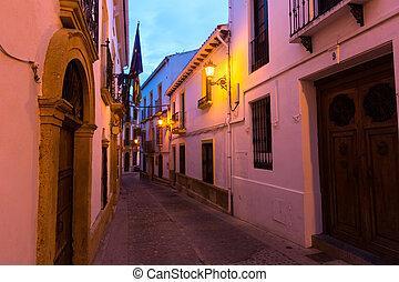 Narrow street in european city. Ronda