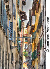 narrow street in Florence in hdr