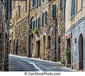narrow street in Montalcino