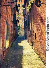 Narrow street in Montepulciano Tuscany, Italy - Narrow ...