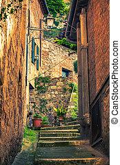 Narrow street in Montepulciano Tuscany, Italy