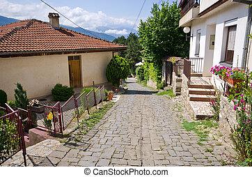 Narrow street in Ohrid town, Macedonia