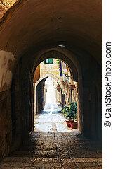 Narrow street in Old City of Jerusalem