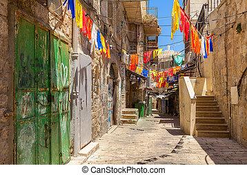 Narrow street in Old City of Jerusalem.