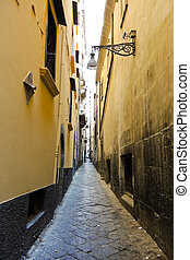 narrow street in old city of Naples