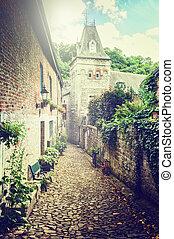 Narrow street in old European town