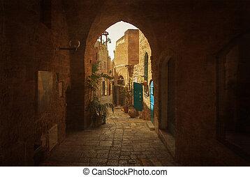 Narrow street in Old Jaffa, Israel