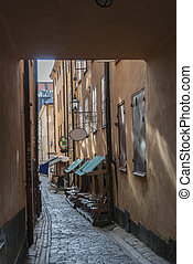 Narrow street in Old own of Stockholm
