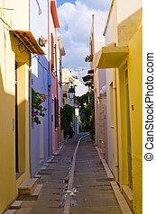Narrow street in Rethymnon, Crete, Greece