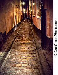 Narrow street in Stockholm at night