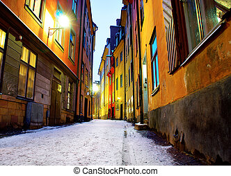 Narrow street in Stockholm - Low angle view of narrow street...