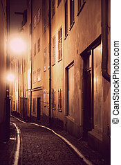 Narrow street in Stockholm