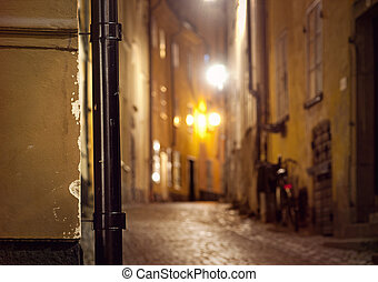 Narrow street in Stockholm - Detail from narrow street in...