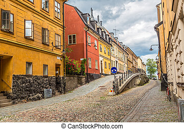 Narrow Street in Stockholm, Sweden