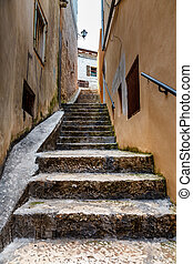 Narrow Street in the Medieval City of Rovinj, Istria, Croatia