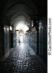 Narrow street in the Old City of Jerusalem, Israel