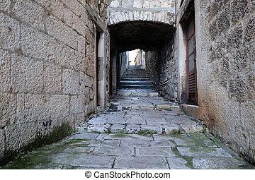 Narrow street in the old town of Korcula, Dalmatia, Croatia