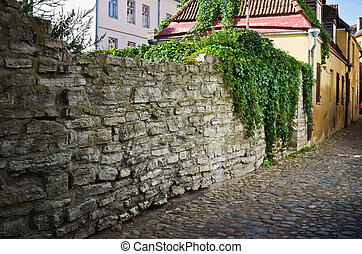 Narrow street in the old town of Tallinn