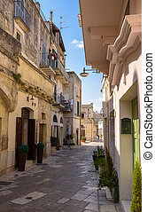 Narrow street in the Sassi of Matera