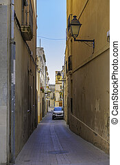 Narrow street in the village Arbos del Panades . The town is a located in the province of Tarragona.
